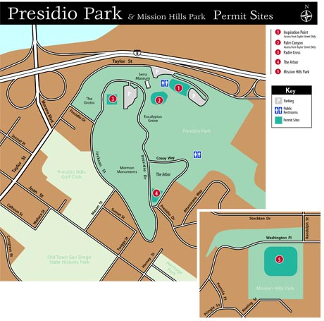 Layout of Presidio Park in San Diego